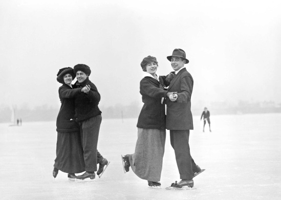 Ice skating - Fred Flake and Flo Coine; Frank Thompson and Mrs. Matheson, 1910-1915