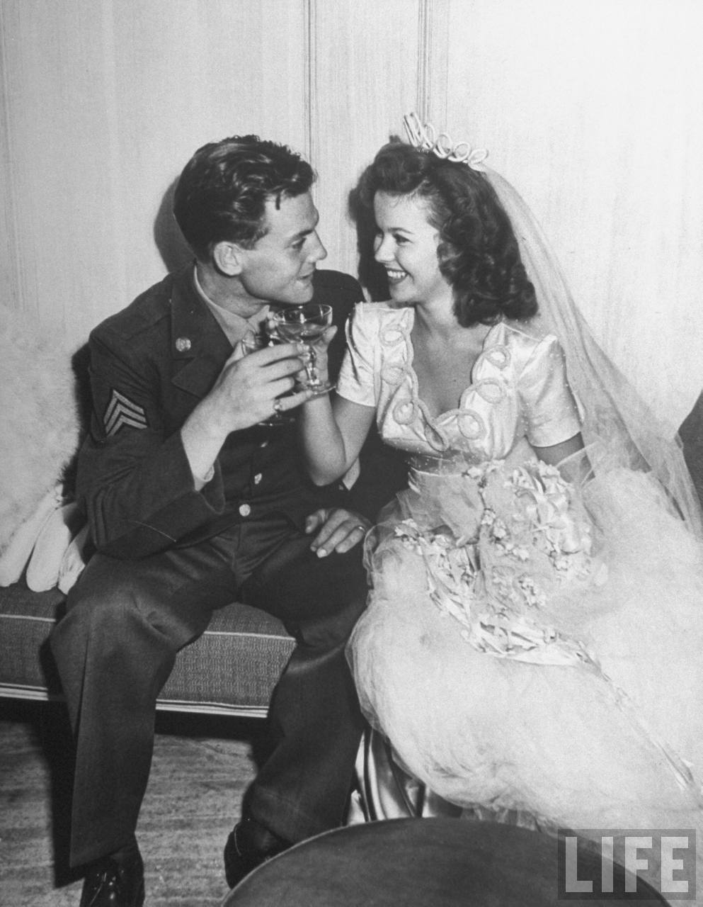 17 Year Old Shirley Temple Enjoying A Drink With Her Husband 1945