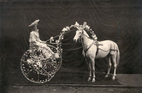Della Royal Mrs. Rhoda Royal sits in a 2-wheeled cart decorated with flowers and harnessed to her world famous horse, Glendive, as taken from a 1906 handbill