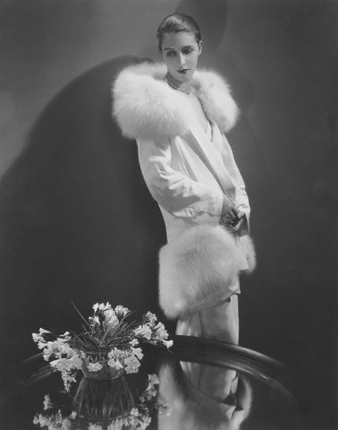 Model Marion Morehouse in Crepe Coat with Fur Collar