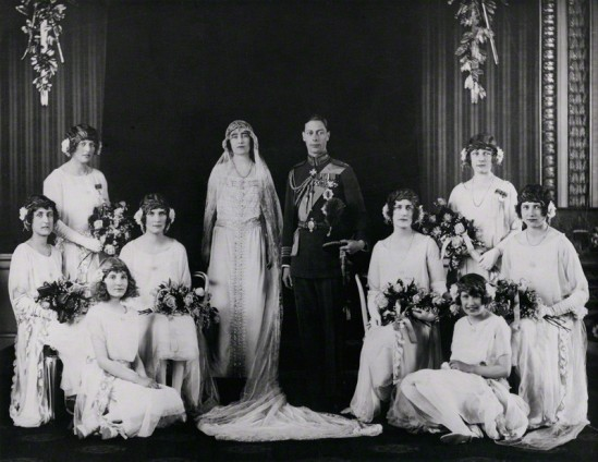 NPG x158916; The wedding of King George VI and Queen Elizabeth, the Queen Mother by Bassano Ltd