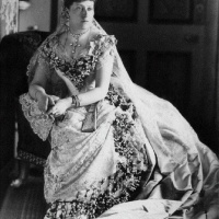 Princess Beatrice Posing in her Beautiful Wedding Dress (1885)