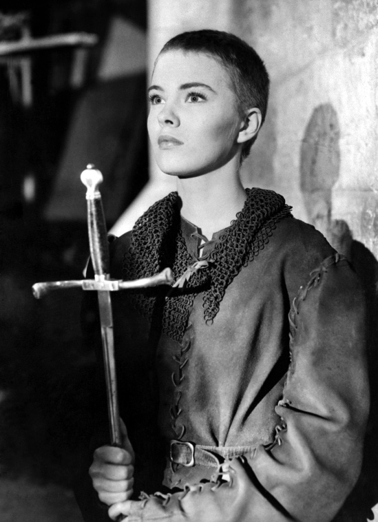 1957: American actress Jean Seberg (1938 - 1979) during a scene from her film 'St Joan', directed by Otto Preminger from the play by Bernard Shaw.